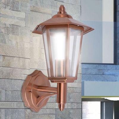 vidaXL Wandlantaarn met indirect licht koperkleurig roestvrij staal