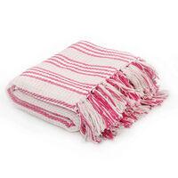 vidaXL Plaid strepen 160x210 cm katoen roze en wit