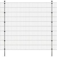 vidaXL Dubbelstaafmatten en palen 2008x2030 mm 30 m zilverkleurig