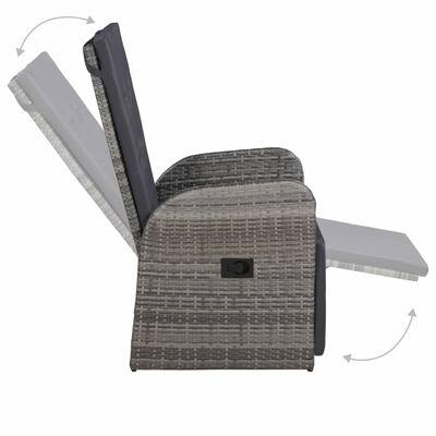 vidaXL Tuinstoel verstelbaar met kussen poly rattan grijs