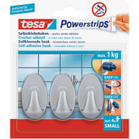 3x Tesa Powerstrips ovale haken mat chroom small - Klusbenodigdheden