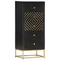 vidaXL Ladekast 45x30x105 cm massief mangohout zwart en goudkleurig