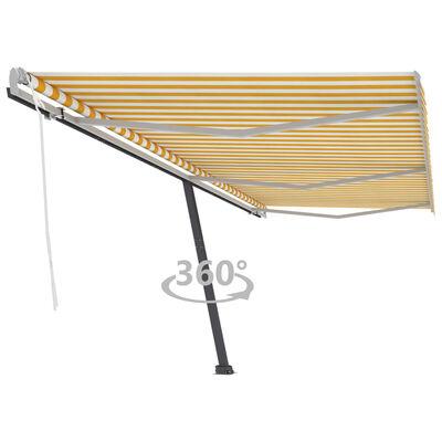 vidaXL Luifel vrijstaand handmatig uittrekbaar 600x300 cm geel en wit