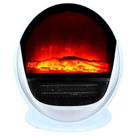 Kachel met Vlameffect - Draagbaar - met Thermostaat  - 1500 Watt - Wit