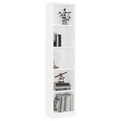 vidaXL Boekenkast met 5 schappen 40x24x175 cm spaanplaat wit