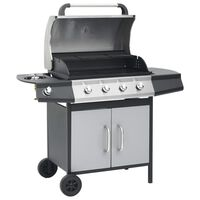 vidaXL Gasbarbecue 4+1 kookzone stoel en roestvrij staal zwart zilver