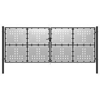 vidaXL Poort 400x150 cm staal zilverkleurig