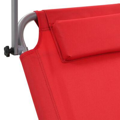 vidaXL Ligbed met luifel en wieltjes inklapbaar staal rood