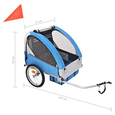 vidaXL Fietskar voor kinderen 30 kg grijs en blauw