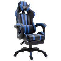 vidaXL Gamestoel met voetensteun kunstleer blauw