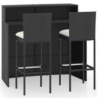 vidaXL 3-delige Tuinbarset met kussens zwart