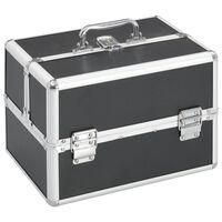 vidaXL Make-up koffer 22x30x21 cm aluminium zwart