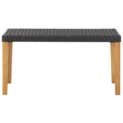 vidaXL Tuinbank 120 cm poly rattan en massief acaciahout zwart