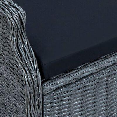 vidaXL 7-delige Tuinset met kussens poly rattan donkergrijs