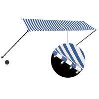 vidaXL Luifel uittrekbaar met LED 350x150 cm blauw en wit