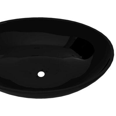 vidaXL Luxe wastafel ovaal 40x33 cm keramiek zwart