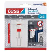 2x stuks Tesa klevende spijkers verstelbaar - wit - voor gevoelige