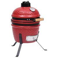 vidaXL Kamado barbecue 2-in-1 56 cm keramiek rood