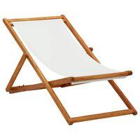 vidaXL Strandstoel inklapbaar eucalyptushout en stof crèmewit