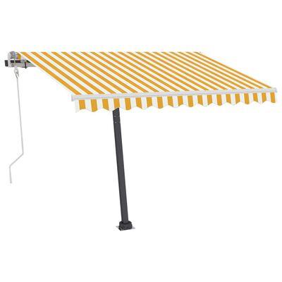 vidaXL Luifel vrijstaand handmatig uittrekbaar 350x250 cm geel en wit