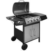 vidaXL Gasbarbecue 4+1 kookzone zwart en zilver