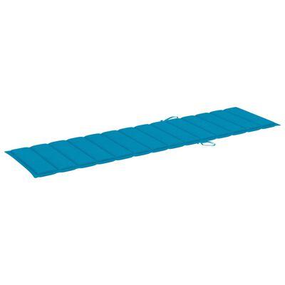 vidaXL Ligbedden 2 st met blauwe kussens massief teakhout