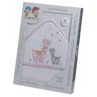 badcape llamas 100 x 100 cm katoen wit/roze