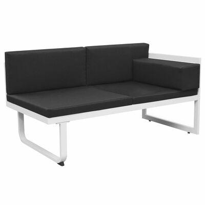 vidaXL 4-delige Loungeset met kussens aluminium zwart