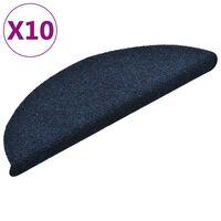 vidaXL Trapmatten zelfklevend 10 st 56x17x3 cm naaldvilt marineblauw