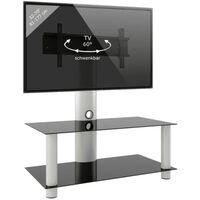 TV meubel voet Valeni Maxi verrijdbaar draaibaar zilver zwart 112 cm