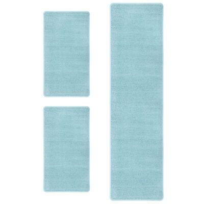 vidaXL Bedtapijten shaggy hoogpolig 3 st turquoise