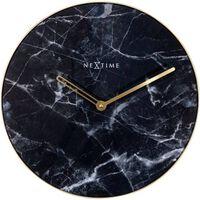 Wandklok NeXtime Marble Ø 40 cm zwart
