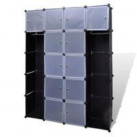 vidaXL Kast modulair met 14 vakken 37x146x180,5 cm zwart en wit