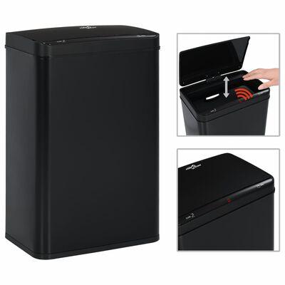 vidaXL Prullenbak met automatische sensor 60 L staal zwart