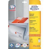Avery witte etiketten QuickPeel  Ft 70 x 36 mm (b x h), 720 stuks (...