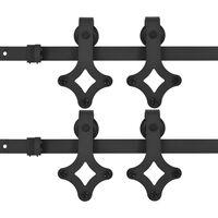 vidaXL Beslagsets voor schuifdeur 2 st 183 cm staal zwart