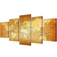 Canvasdoeken wereldkaart 100 x 50 cm