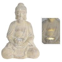 ProGarden Boeddha met solarlamp MGO crèmekleurig