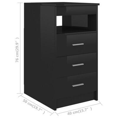 vidaXL Ladekast 40x50x76 cm spaanplaat hoogglans zwart