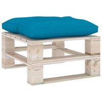 vidaXL Tuinpoef met blauw kussen pallet grenenhout
