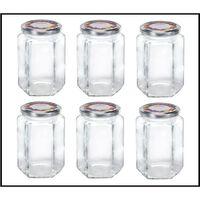 Leifheit 3211 Jampot Zeshoekig 770ml Glas/Zilver (set van 6 stuks)