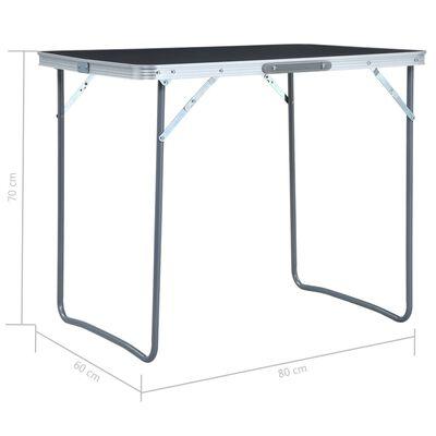 vidaXL Campingtafel inklapbaar met metalen frame 80x60 cm grijs