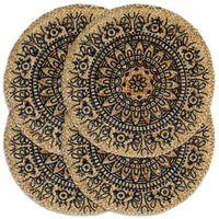 vidaXL Placemats 4 st rond 38 cm jute donkerblauw