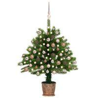 vidaXL Kunstkerstboom met LED's en kerstballen 65 cm groen