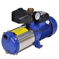 Jet pomp met waterdrukmeter 1300 W 5100 L/u blauw