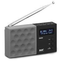 Nikkei DAB-radio met wekker NDB30BK draagbaar grijs en zwart
