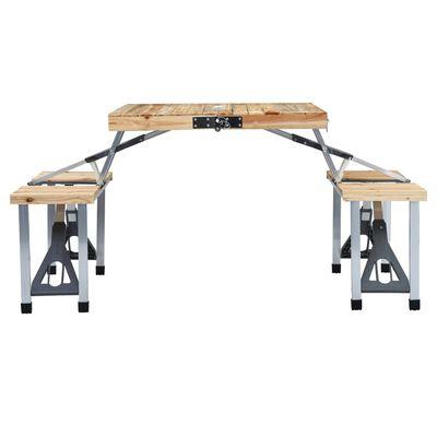 vidaXL Campingtafel inklapbaar met 4 zitjes staal en aluminium