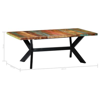 vidaXL Eettafel 200x100x75 cm massief gerecycled hout