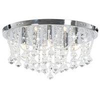 vidaXL Plafondlamp met kristallen kralen rond 4xG9 zilverkleurig