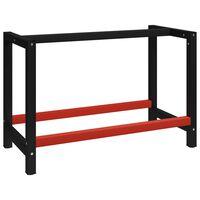 vidaXL Werkbankframe 120x57x79 cm metaal zwart en rood